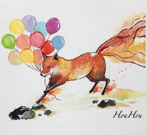 水彩手繪風格 動物 人物 建築插畫